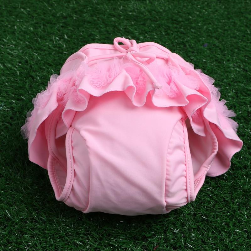 Newborn baby leakproof swimwear kids swim diaper adjustable children princess lace flower girls swimming trunks bathing nappies