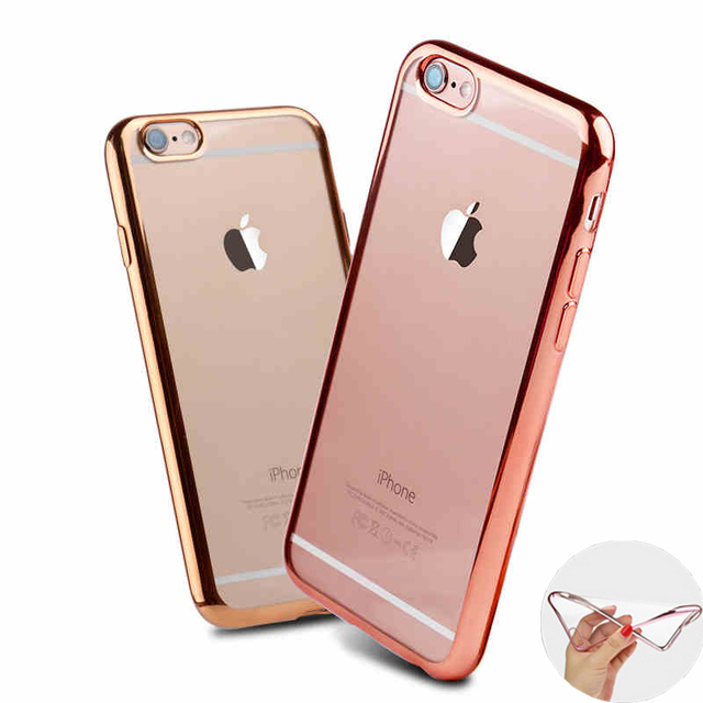 online store 6b495 821e7 US $2.99 |Ultra Thin clear pink Rose Gold cover case for iphone 6s 6 armor  transparent soft tpu cover for iphone 6 s cell phone cases 4.7