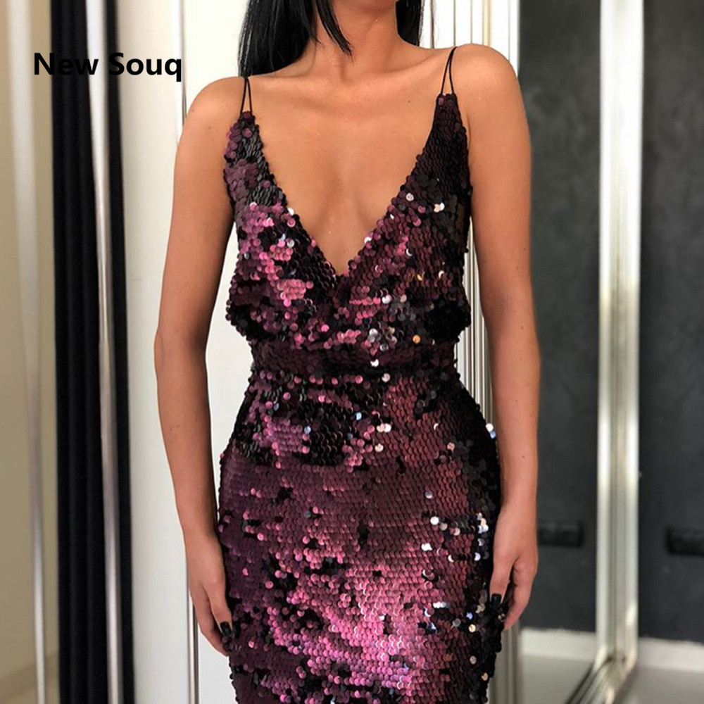 Sexy Spaghetti V-neck Backless Prom Dresses Sequined Floor Length Mermaid Prom Dress 2019 New Dubai Evening Gowns