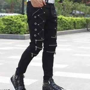 Image 3 - Мужские обтягивающие брюки в стиле панк, Стильные повседневные хлопковые брюки на молнии, черные брюки Goth, весна 2019