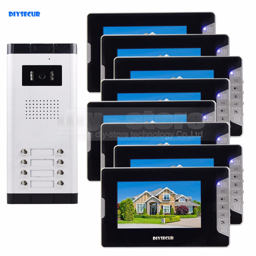 DIYSECUR Quality 7 4-Wired Apartment Video Door Phone Audio Visual Intercom Entry System IR Camera For 8 Families diysecur 7 4 wired apartment video door phone audio visual intercom entry system ir camera for 6 families