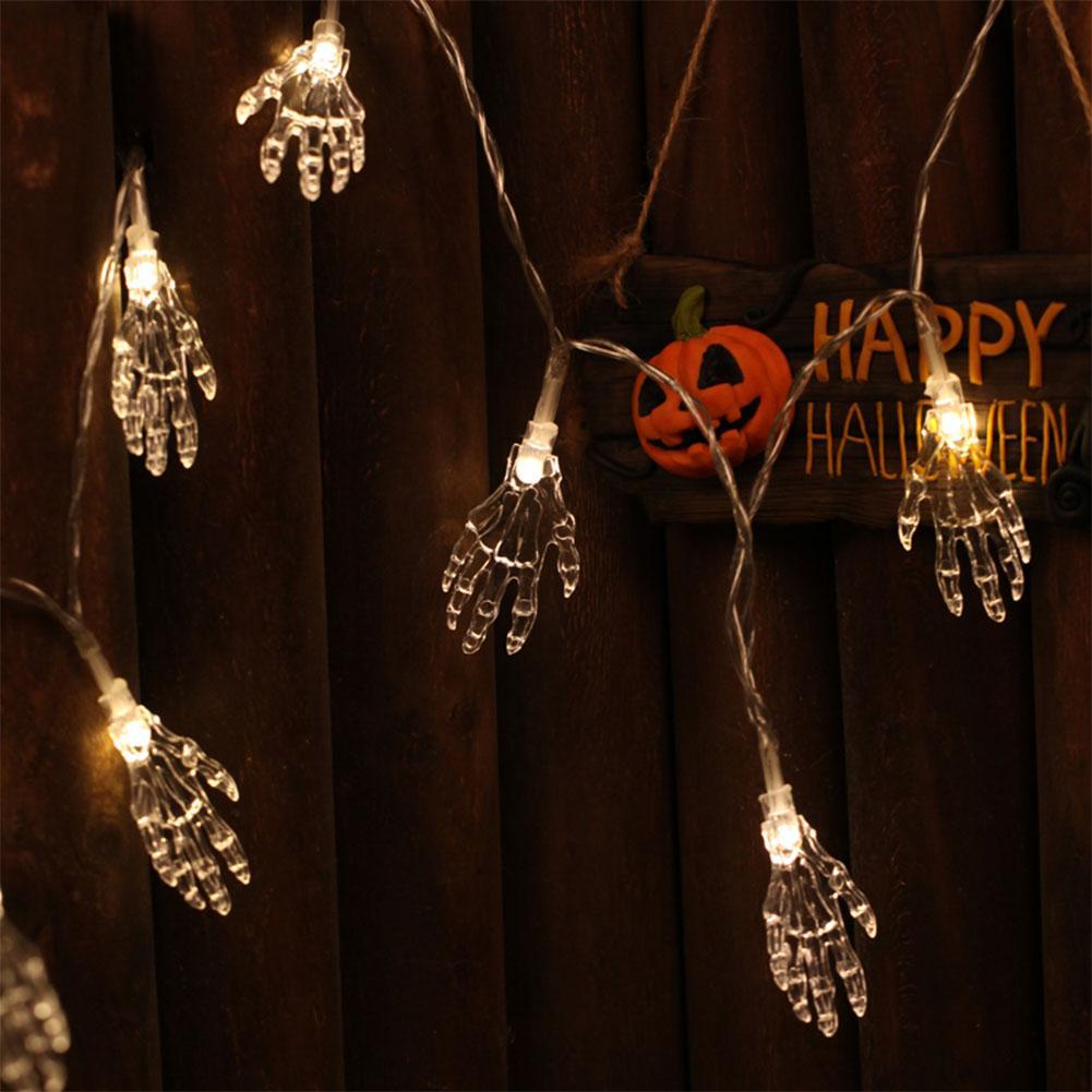 1.2m 10 Led Ghost Hand Shape String Lamp Halloween Toy Skeleton Night Light String Light For Halloween Party Home Terror Blub Lights & Lighting