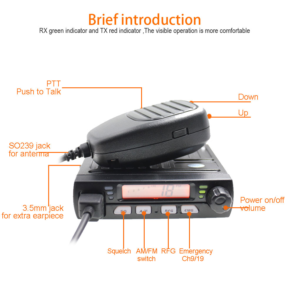 Image 3 - Mini mobile radio CB 40M 25.615  30.105 AR 925 8W 40CH 9/19 emergency channel CB Car Radio Smart Transceiver amateur Compact AM-in Walkie Talkie from Cellphones & Telecommunications