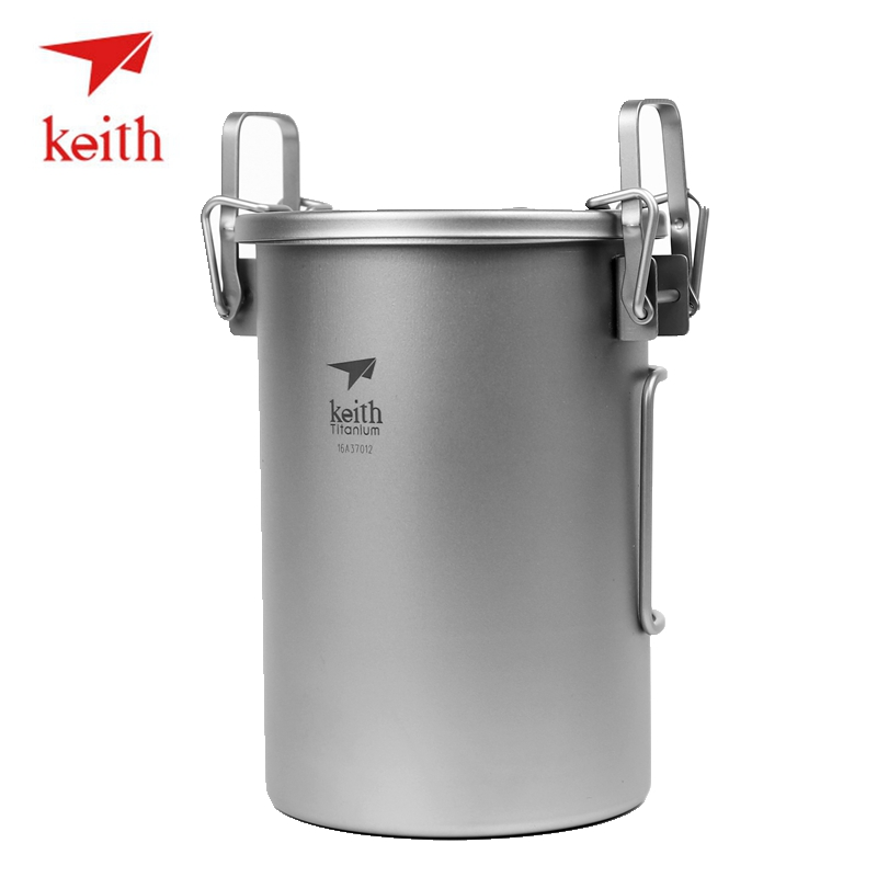 Keith 0.9L Folding Titanium Cooker Pots Outdoor Camping Hiking Travel Picnic Ultralight Rise Drum Water Cookware Cooking Pot