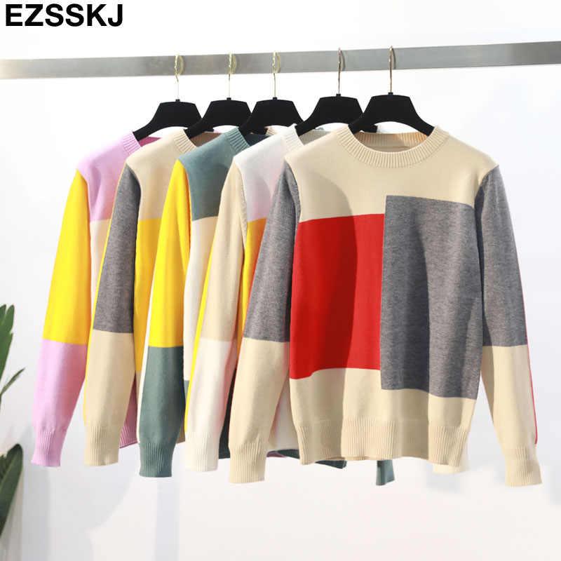 2019 NEUE casual frühling herbst lose Pullover pullover Frauen Langarm Patchwork stricken top weibliche oansatz geometrische pullover