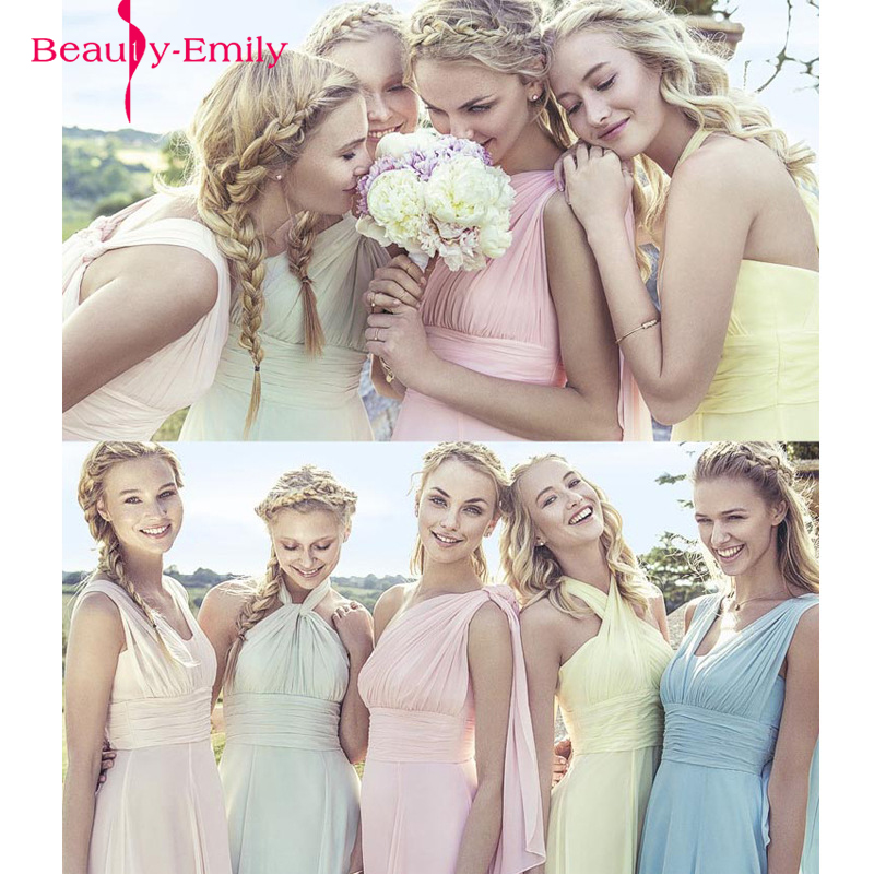 Beauty-Emily Candy Color Long A-Line Bridesmaid Dresses 2017 Off the Sleeve Vestido da dama de honra kleider weit