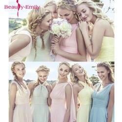 2019 карамельный цвет Элегантное длинное шифоновое ТРАПЕЦИЕВИДНОЕ ПЛАТЬЕ подружки невесты Vestido da dama de honra свадебное вечернее платье Большие