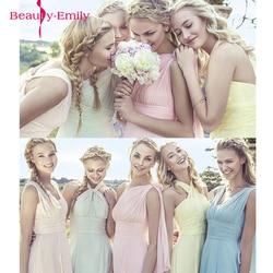 2019 Candy Farbe Elegent Lange Chiffon A-linie Brautjungfer Kleider Vestido da dama de honra hochzeit party kleid Plus größe anpassen