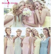 2020 צבעים בוהקים Elegent ארוך שיפון אונליין שושבינה שמלות Vestido דה dama de honra חתונה מסיבת שמלה בתוספת גודל אישית