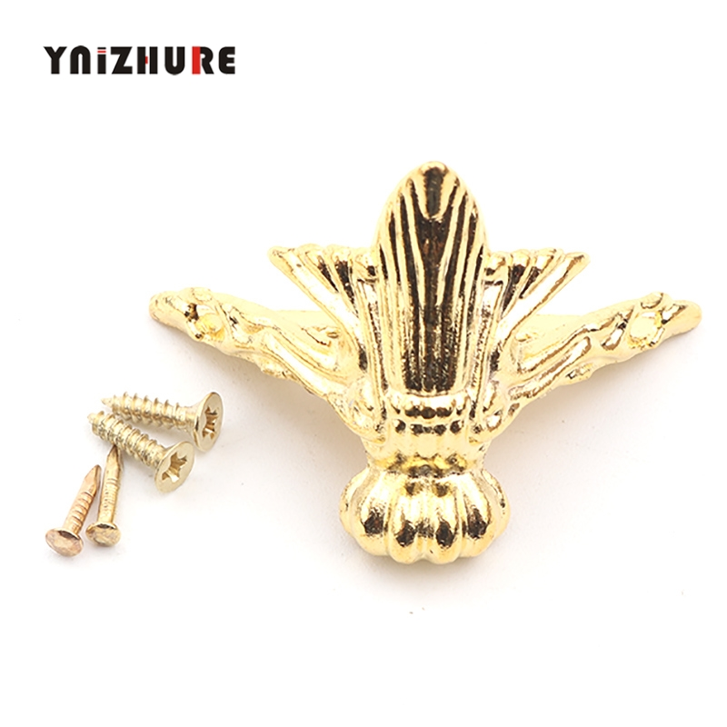 42*30mm 12Pcs Antique Furniture Jewelry Gift Box Wood Case Decorative Feet Leg Corner Protectors Flatback Metal Embellishment