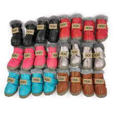 4pcs/set Waterproof Pet Dog Shoes Winter Super Warm Dog Boots Cotton Anti Slip Shoes For Small Pet Supplies Chihuahua Teddy(China)