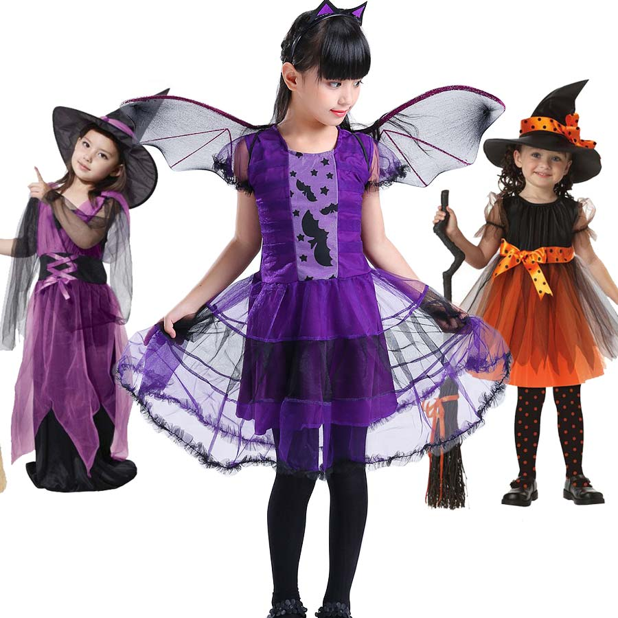 Baby Halloween Witch Dress Child Fancy Halloween Dress Halloween Costume for Kids Witch Christmas Carnival Costumes for Children