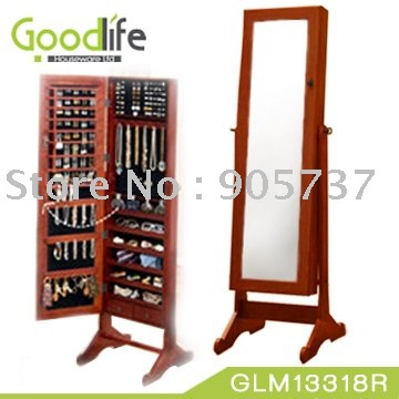 Bon Wooden Dressing Mirror With Cabinet+jewelry Armoire+Cherry  +White+Black+Brown