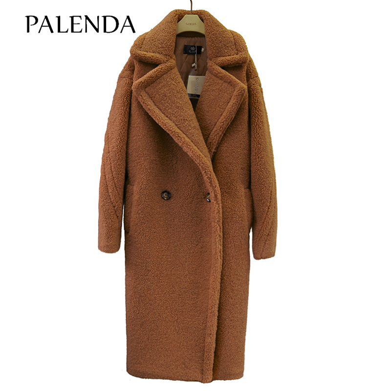 2018 new teddy   coat   faux fur long   coat   women lamb fur   coat   4 color