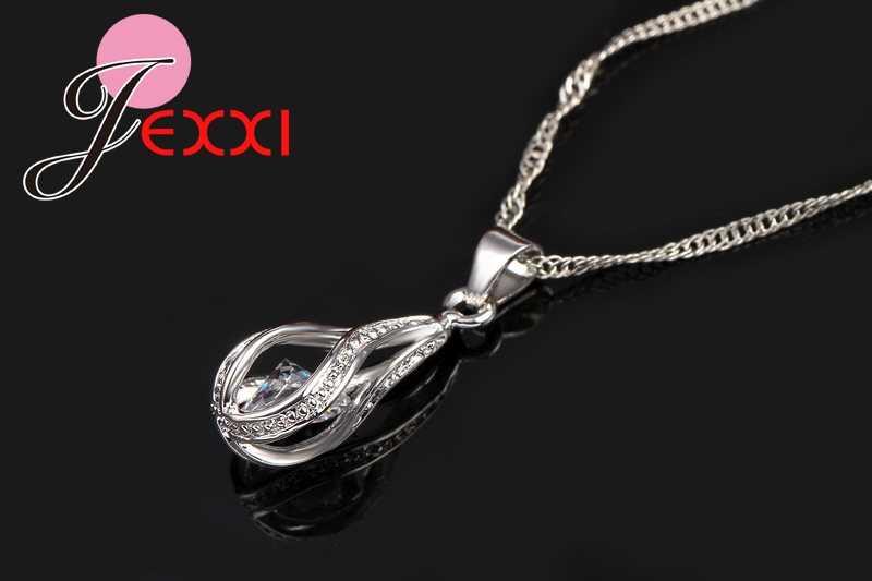 925 Sterling Silber Klassische Romantische Drop Form Weiß Kristall Schmuck Sets Wasser Welle Halskette Anhänger Hoop Ohrringe