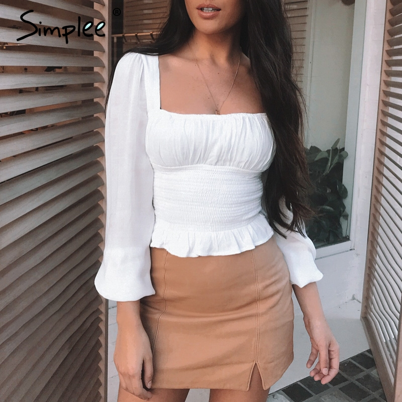 Simplee Elegant long sleeve women   blouse     shirt   summer Ruffle peplum   blouse   ladies tops High waist sexy white   blouse   female 2019