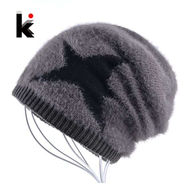 601fc51b7910e5 Mens Beanie Hat Winter Skullies Knitted Five-pointed star Fluffy Cap For  Women Add Velvet Thick Gorros Beanies For Men Bonnet