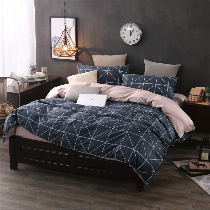 Brief Modern Bedding Set Japan Plaid Stripe 4Pcs Set Duvet Cover+Sheet+2Pillow Case 100% Cotton Bedclothes Home Hotel School Use