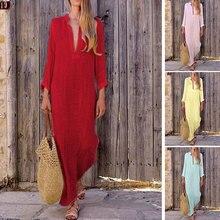 Women  Dresses Robe Summer Beach Holiday Maxi Dress Long Sleeve V-neck Ethnic Cotton Linen Sundress