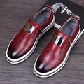 England style men fashion office wedding dresses genuine leather shoes flats oxford shoe slip on platform loafers italian design