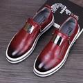 Inglaterra estilo hombres de moda oficina vestidos de boda zapatos de cuero genuinos pisos oxford zapato resbalón en holgazanes plataforma de diseño italiano