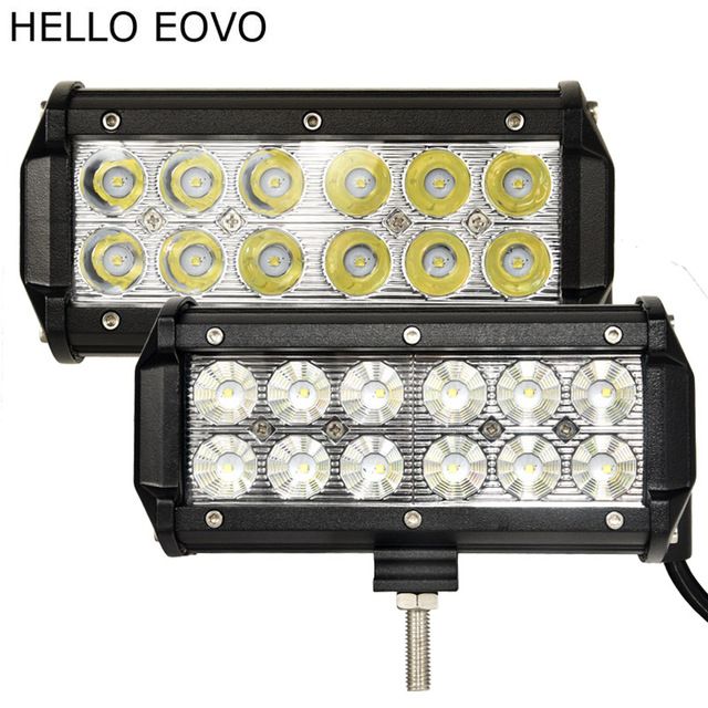 HELLO EOVO 2pcs 7 Inch 36W LED Work Light Bar for Indicators Motorcycle Driving Offroad Boat Car Tractor Truck 4x4 SUV ATV 12V