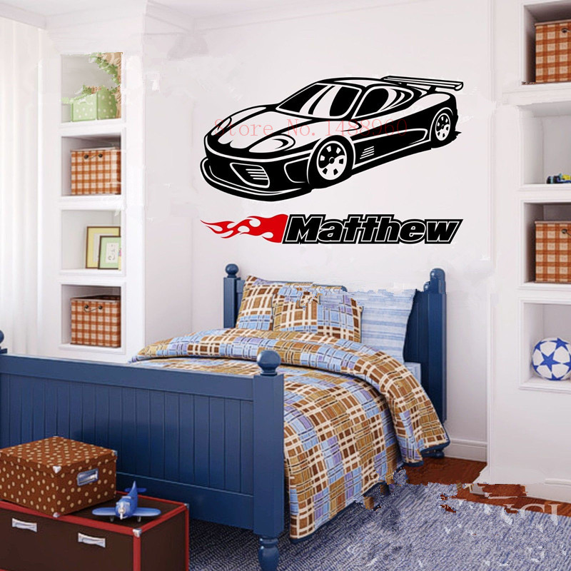 E573 Wall Stickers Home Decor Diy Poster Vinyl Mural For Kids Room Personalized Custom Name Car Classic Wheels Sport Racecar