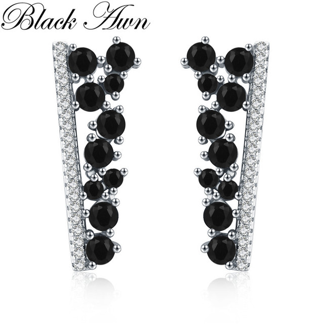 BLACK AWN Hot 2020 Cute 925 Sterling Silver Black Spinel Trendy Engagement Earrings for Women Fine Jewelry Bijoux I055