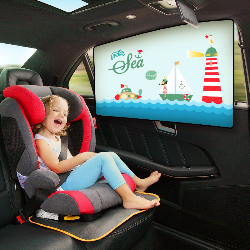 Baby Car Cartoon Window Sunshade Curtain Universal Car Side Window Sunshade Curtain Adjustable Magnetic Summer Shade UV Foils