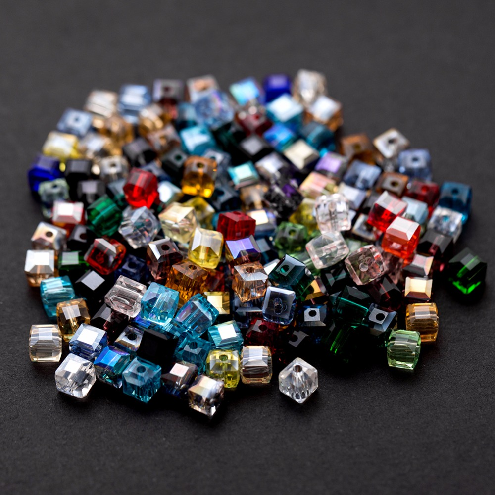 Lots 50//100Pcs Mixed Crystal Cube Square Loose Spacer Beads DIY Jewelry Making