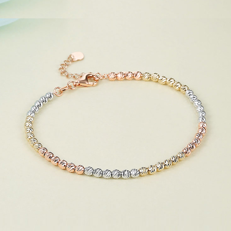 Sinya Au750 gold laser beads strands bracelet for Baby kids ladies girls women length from 12
