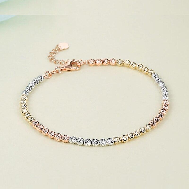 Sinya Au750 laser oro fili di perline braccialetto per i bambini Del Bambino delle ragazze delle signore delle donne di lunghezza da 12 a 22 centimetri 18k perline oro diametro 2 millimetri-in Bracciali e braccialetti da Gioielli e accessori su  Gruppo 1