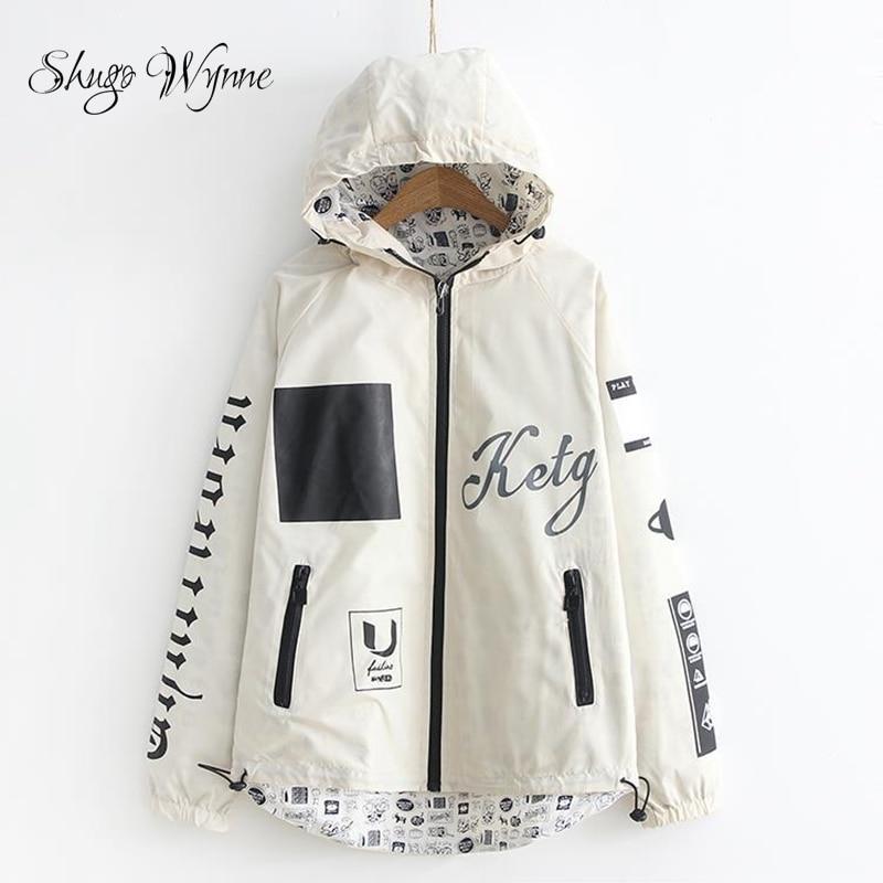 Shugo Wynne 2018 Spring New Women Two Side Wear Casual Outerwear Coat Hooded Pocket Long Sleeve Cute Cartoon Print Female Jacket