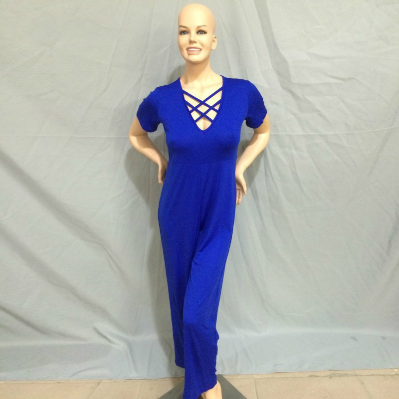 XXXL Plus Size Sexy Jumpsuits New Summer Women's Rompers Jumpsuit Casual Black Bodysuit Short Sleeve V-Neck Tunic Long Playsuits 4