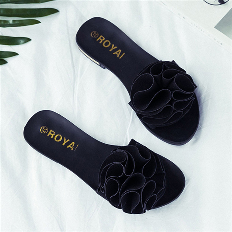 Women Beach Shoes Flower Flat Sandals Slip Resistant Slippers Sandal 35-40