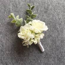 Artificial Silk Flowers Groom Boutonniere Man Suit Pin Corsage Wedding Flower Party Decoration(China)