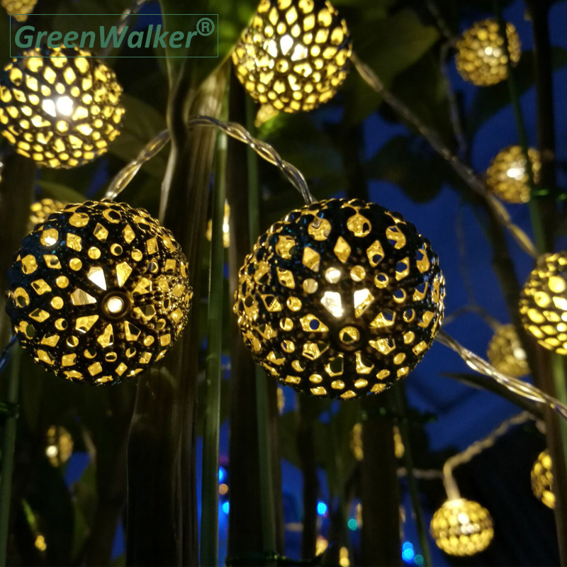 2018 Globe String Lights, Moroccan Ball String Lights,15ft 20 LED Fairy Orb Lantern Christmas Party Battery driver String Lights
