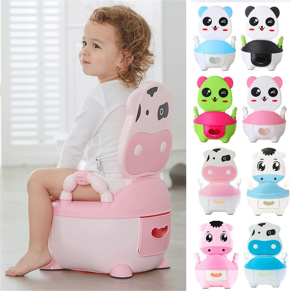 Portable Baby Pot Panda Dog Cow Infant Road Pot Children's Potty Folding Toilet Seat With Soft Pad Portable Baby Potty Training