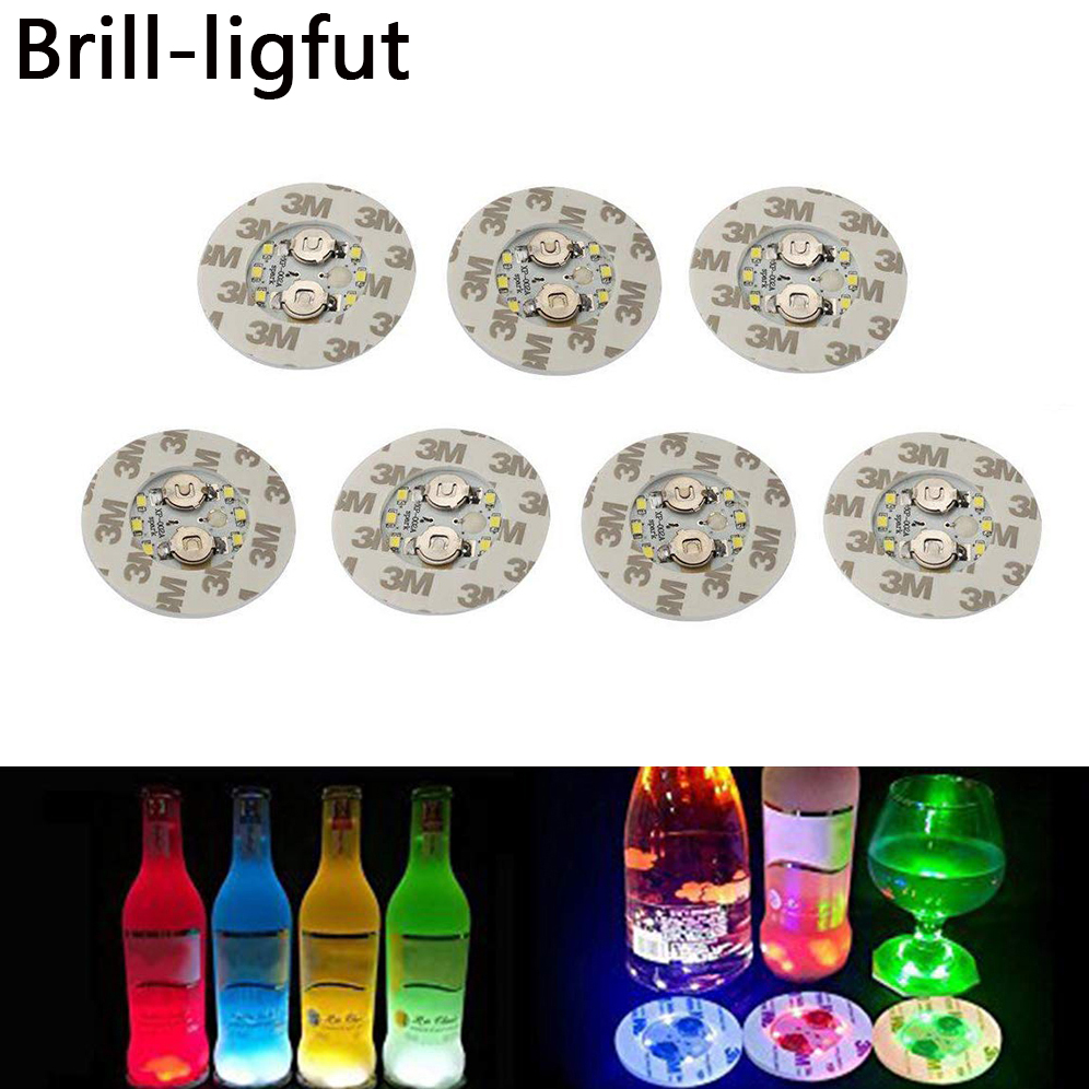 1Pcs Super Bright 6 LED Party Bottle Light Stickers Mini Bar Club LED Coaster Cup Mat Vase Christmas Wedding Decoration Lights