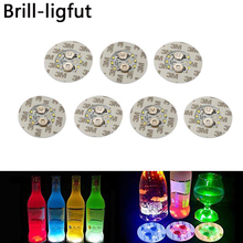 1Pcs Super bright 6 LED Party Bottle Light Stickers Mini Bar Club Coaster Cup Mat Vase Christmas Wedding Decoration lights