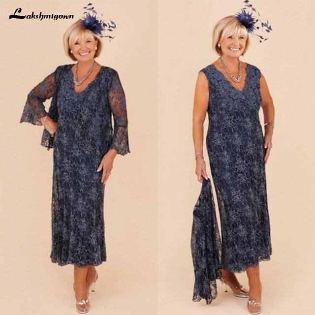 Lace Mother Of The Bride Dresses Suit Formal Wedding Party Dresses With Jacket V-Neck Tea Length Plus Size Vestidos De Madrinha