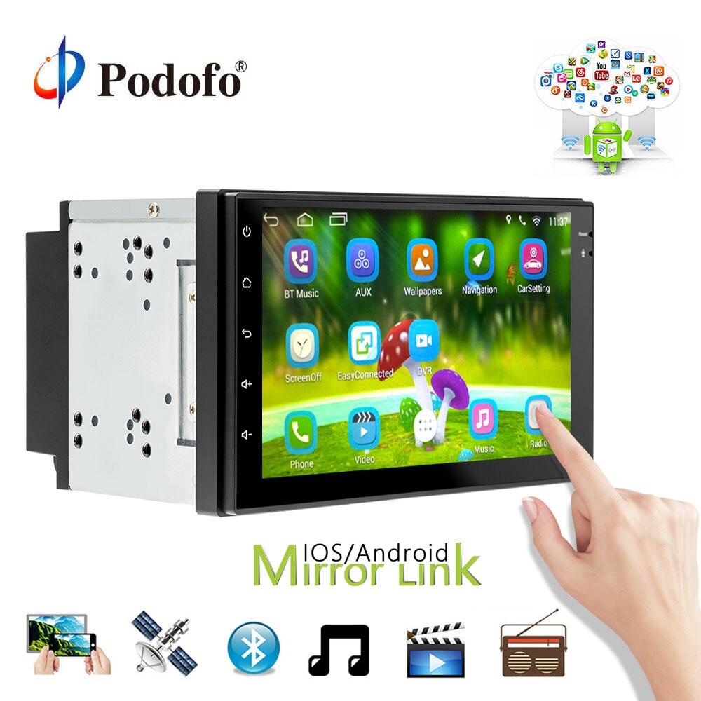 Podofo autoradio Android 7 pouces 2din GPS Navigation Bluetooth USB WiFi 2 din universel WiFi multimédia 7 pouces autoradio lecteur