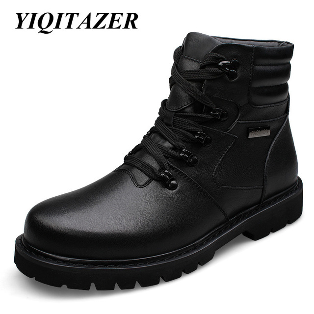 YIQITAZER 2017 Cow Muscle Soles Genuine Leather Shoes Man Military Boots,Winter Mans Ankle Amry Boots Snow Shoes Plus Size 48