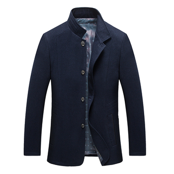 2017 Men Long Trench Coat  Winter Men Classical Single Breasted Stand Collar Wool Coat Mens Overcoat Men's Coats Male Clothing