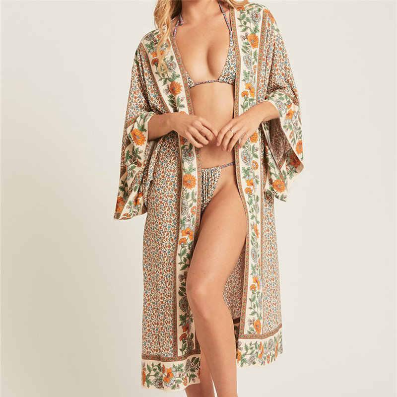 2019 新ボヘミアンプリントプラスサイズ夏のビーチウェア着物カーディガンカバーアップ綿チュニック女性トップスシャツ N803