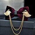 2016 Nuevos Diseñadores de la Marca de Metal de Oro Alas de Mariposa Gravata Borboleta Pajarita Hombres Capa Bowtie de La Boda Casamento Empate Vino Tinto