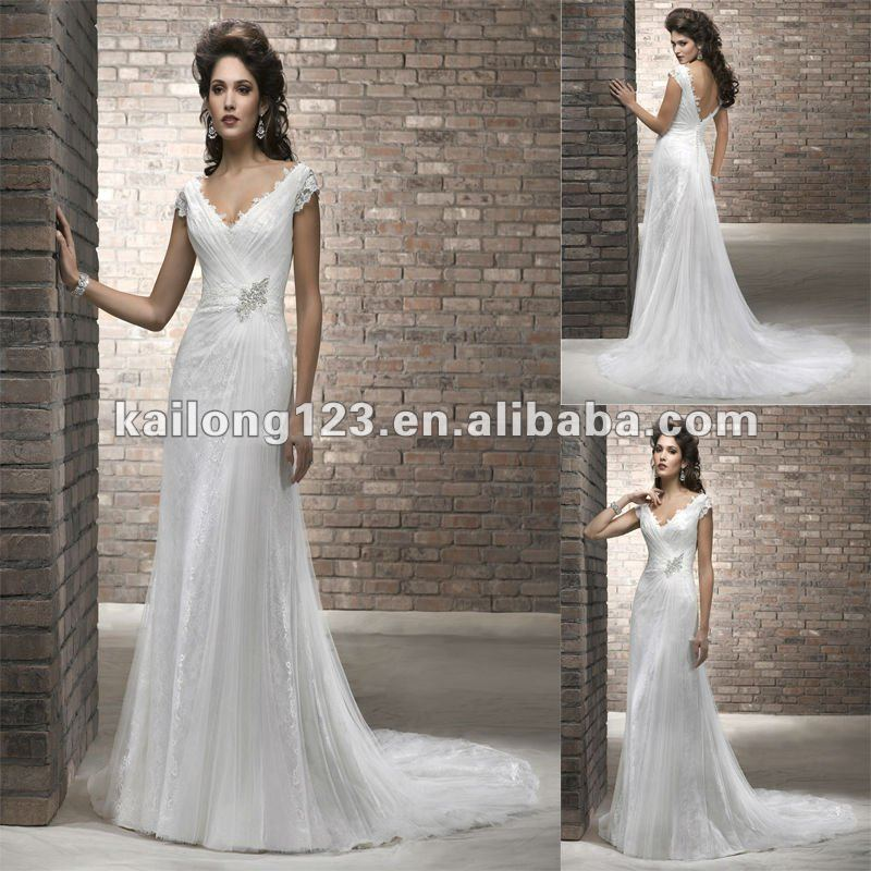 Modest V Neck Sheath Style Cap Sleeve Court Train Zipper Soft Tulle Over Lace Wedding Dresses In From Weddings Events On Aliexpress