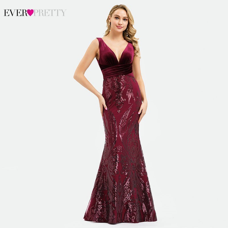 Ever Pretty Sexy Mermaid   Prom     Dresses   V-Neck Sequined Velour Elegant Burgundy Formal Evening Party Gowns Mezuniyet Elbiseleri