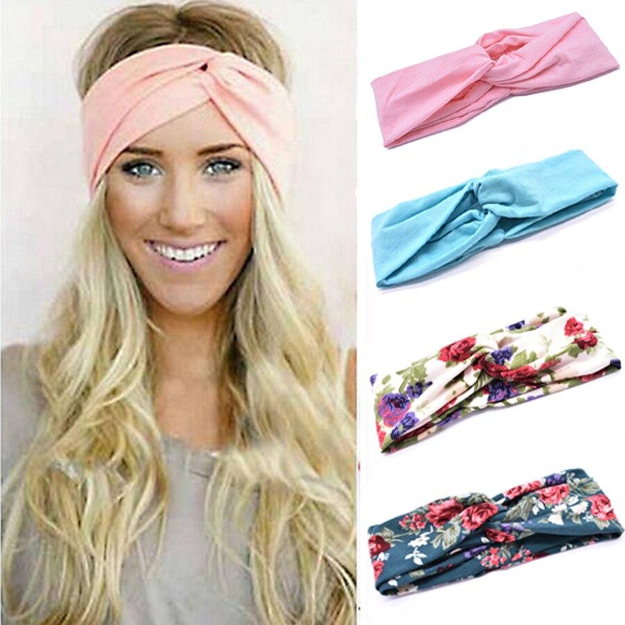 Floral Print Women Cotton Stretch Twist Headbands Turban