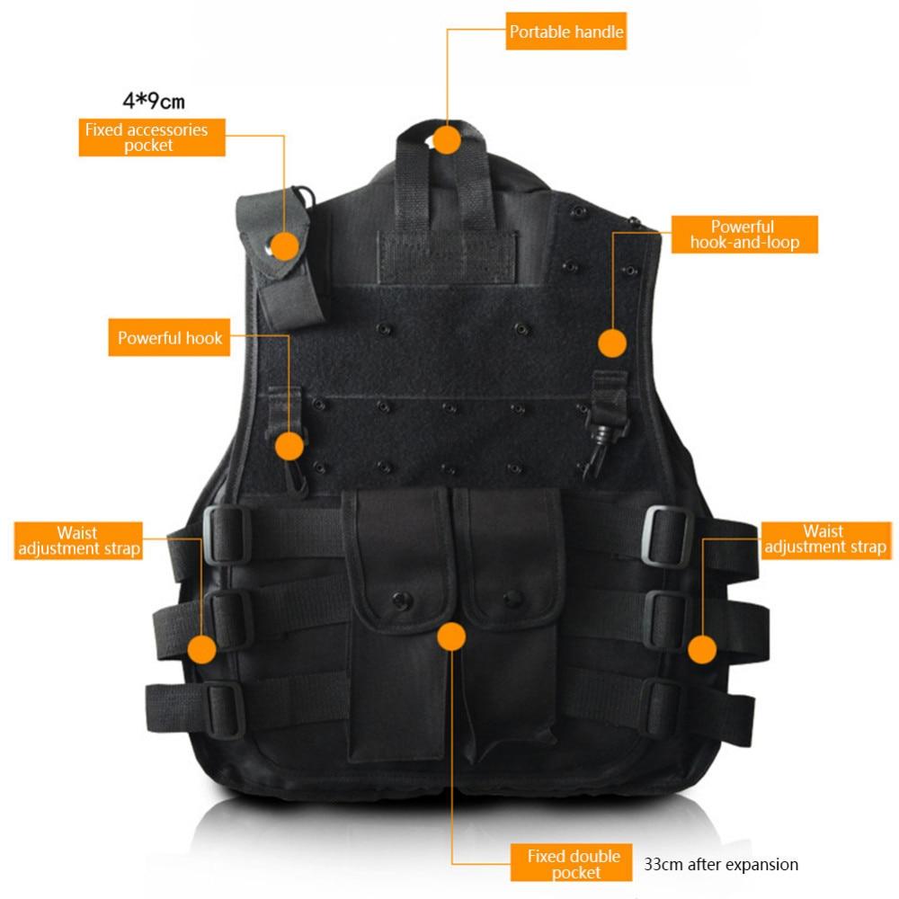 Outdoor Horse Riding Vest Security Guard Children Kids Black Tactical Vest Jacket Waistcoat Tool Holder Toy Clip Darts 6